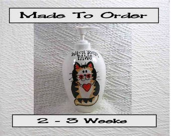 Wash Your Paws Pottery Soap Dispenser Rust Tabby Cat Lotion Bottle Handmade To Order by Gracie