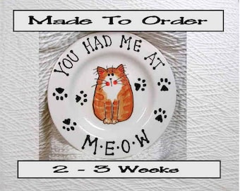6 Inch Meow Cat Plate Handmade In Clay by Grace M Smith Pet Food Dish