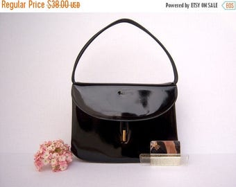 30% MOVING SALE 50s 60s handbag / black patent leather / mirror comb set by Lewis / wedding date night opera purse
