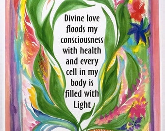 Divine Love 8x11 Inspirational Health Poster Motivational Self Love Eating Disorder Spiritual Meditation Heartful Art by Raphaella Vaisseau