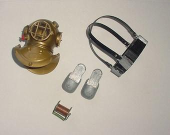 G I Joe- Hasbro GI Joe - Accessory Lot of Deep Sea Diving Equipment - Divers Hat-Heavy Shoes and More