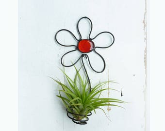 Air Plant Holder- Flower Wall Hanging with Blue or Red Glass Bead