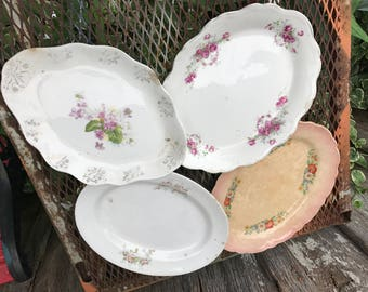 Lot of 4 Antique/Vintage White and Off White Well Loved Ironstone China Oval Platters