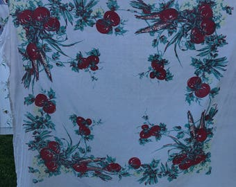 Vintage Red and White Tomato Print Cutter Tablecloth