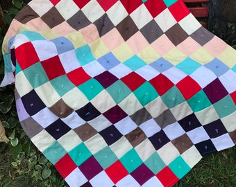Vintage Hand TIed Colorful Polyester and Knit Patchwork Crib Quilt/Baby Quilt/Lap Quilt