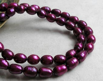 Purple Freshwater Pearl Necklace Vintage Choker Sterling Silver Clasp