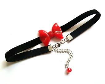 Red Bow Choker Necklace, Black Velvet Choker, 90s Jewelry, Grunge, Retro
