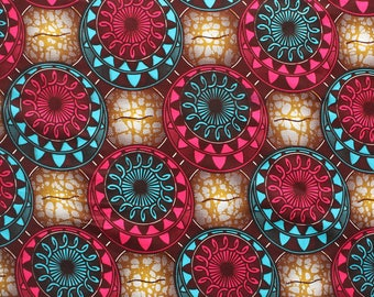 Circle African Print, African Print By the Yard, Brown Pink and Turquoise Print, African wax print, Ankara fabric, Dressmaking fabric