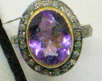 Vintage Amethyst Diamond Ring - Rose Cut Diamonds - Gold Over Sterling - 6.5 - Large Amethyst Gemstone - Gorgeous