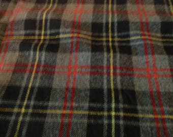 Large piece of black, gray, red and yellow plaid wool fabric for rug hooking, penny rugs, quilting, appliqué , set # 31