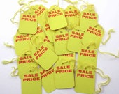 Vintage Unused Yellow and Red Sale Price Store Pricing or Merchandise String Tags NOS Set of 20