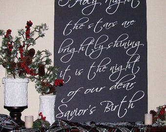 Christmas O Holy Night Typography Sign - You choose size 8x10, 16x20, 20x24, 24x36 & type of sign material