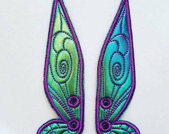 Fairy shoe wings green/blue hologram  with purple detail stitching and outline/eyelets