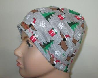 Kids Stretch Knit Santa Wiener Dog Children Size  Hat -Chemo, Cancer, Alopecia,Sleep Cap