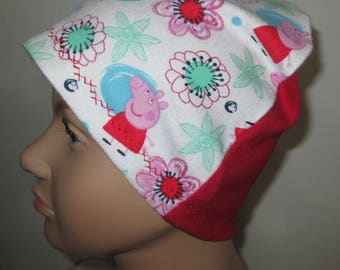 Kids Peppa the Pig Red Back Flannel Chemo Hat, Kid's  Cancer Cap, Alopecia, Sleep Cap