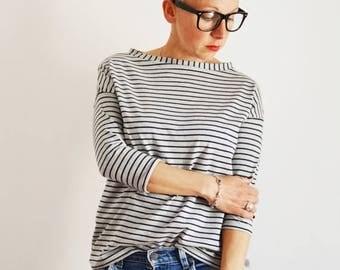 ON SALE Cotton Top, T shirt, Tee for women, Tunic top, striped  T shirt,organic cotton tee,3/4 sleeve t shirt, cool t shirt