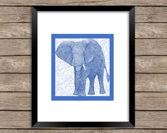 Blue Elephant on White Background Download Print, would be a unique addition to any home decor