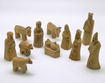 Vintage Wood Nativity Original Box Israel Primitive