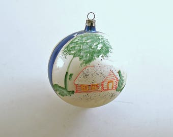 Vintage Christmas Glass Ornament Cabin in the Woods