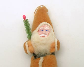 Antique Christmas Ornament Santa Claus Spun Cotton Clay Face Christmas Decoration