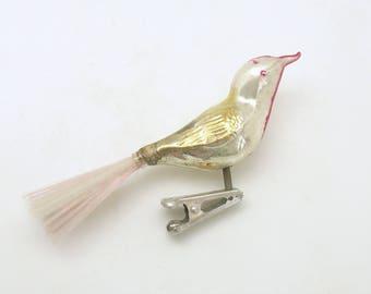 Vintage Christmas Ornament Clip On Glass Bird Ornament Christmas Decoration