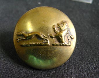 Antique Brass Button Greyhound and Demi-Lion Livery Button Pre-1860 STANDISH & CO London