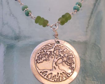 Handcrafted Silver Tree of Life Necklace with Peridot, Turquoise and Lapis