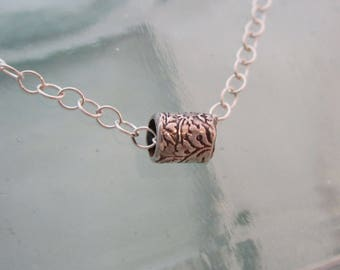 Handcrafted Silver Floral Bead on Chain