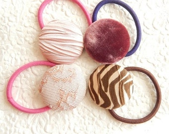 CLEARANCE - 4 pink ponytail holders, peach scrunchie, hair accessory, fashion accessory, womens accessory