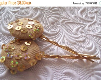 CLEARANCE - 2 gold sequin hair-pins, embroidered hairpins, fabric hairpins, 1 1/8 inch hairpins, hair accessory, womens accessory