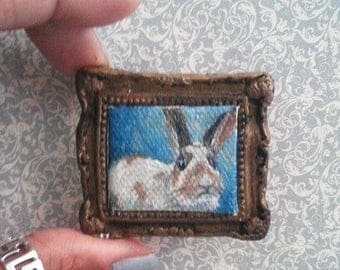 1:6 Scale Brown and White Bunny Rabbit Pet Portrait Oil Painting, Framed almost READY to SHIP