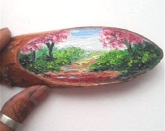 """Mini Oil Painting Pathway with Pink Trees on Wood Slice 1.75"""" x 5.5"""" almost READY TO SHIP"""