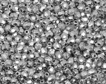 Czech Faceted Silver Fire Polish Glass Beads 3mm (50)