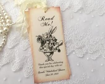White Rabbit Bookmarks, Read Me Alice in Wonderland Bookmarks, Baby Shower, Bridal Shower, Birthday, Set of 10