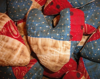 SMALL Quilt Heart | Old Quilt Heart Fabric Stuffed  | Antique Quilt Heart | Red White And Blue Quilt Heart | Listing is for 1 Heart