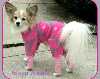 Dog Pajamas Fleece Basic Style To Order Horseshoes on Pink, Blue Butterflies, Unicorn  all Sizes