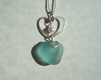 Heart Shaped Blue Sea Glass Necklace -Blue Seaglass Pendant -Sterling Silver Jewelry