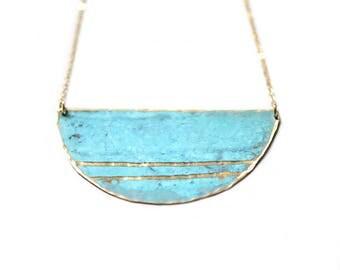 Patina Double Striped Necklace - Minimal Beach Coastal Hammered Jewelry