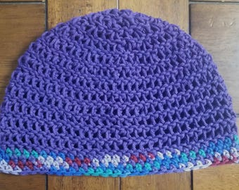 Purple Multi Cotton All Weather Beanie - Limited Edition, Ready to Ship