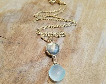 Flash Labradorite Stone and Green Chalcedony Stone Drop Pendant 14k Gold Vermiel Necklace