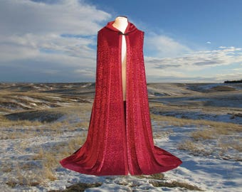 Cloak - Hooded Cape - Red Burnout Velvet- Renaissance - Halloween Costume - Medieval- Harry Potter - Wedding Fall