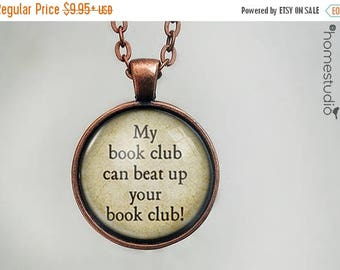 ON SALE - My Book Club : Glass Dome Necklace, Pendant or Keychain Key Ring. Gift Present metal round art photo jewelry by HomeStudio