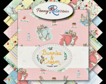 "ON SALE Penny Rose Fabrics ""Bunnies and Cream"" Fat Quarter Bundle"