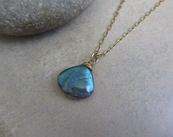 Blue Labradorite Necklace, Gold, Wire Wrapped, Labradorite Gold Necklace, Irisjewelrydesign