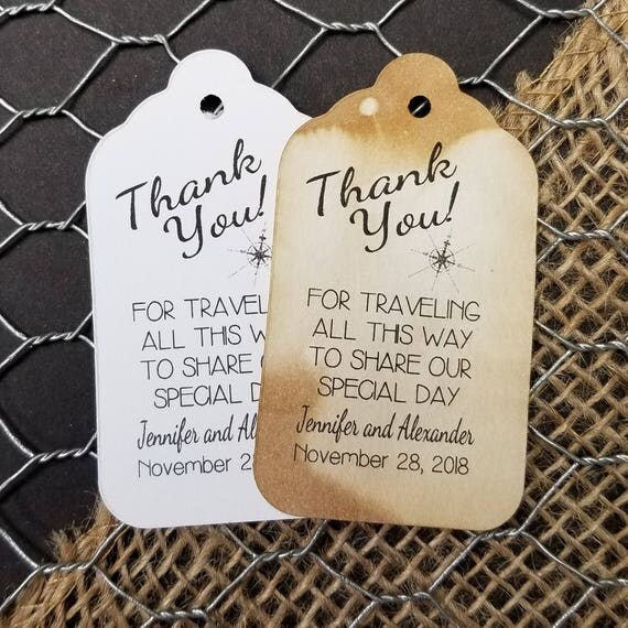 Thank You for Traveling all This Way to Share our Special Day (my MEDIUM tag) 1 3/8 x 2 1/2 Personalized Wedding Favor Tag