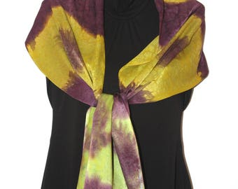 Mulled Wine  Hand Painted Silk Scarf  Charmeuse Silk