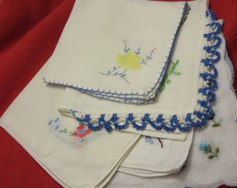 5 Vintage White Hankies With Blue Accents Hanky lot