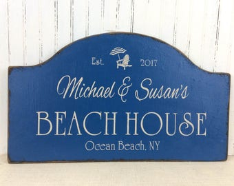Custom Beach House sign, personalized beach decor,  personalized sign, Jersey shore, vacation house plaque, custom cottage, summer sign