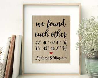 We Found Each Other | Anniversary Gift for Wife Husband | GPS Coordinates Gift | Where We Met Location Burlap Print | Gift for Couple
