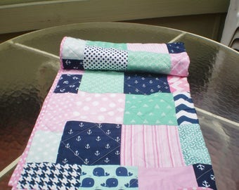 Handmade Baby Quilt, Nautical Baby Quilt, Baby Girl Bedding, Baby Girl Quilt, Baby blanket, Pink, Navy, mint, anchors,Toddler, Whale Toss